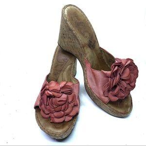 BORN Leather Slides Cork Wedges 3D Pink Flower 9